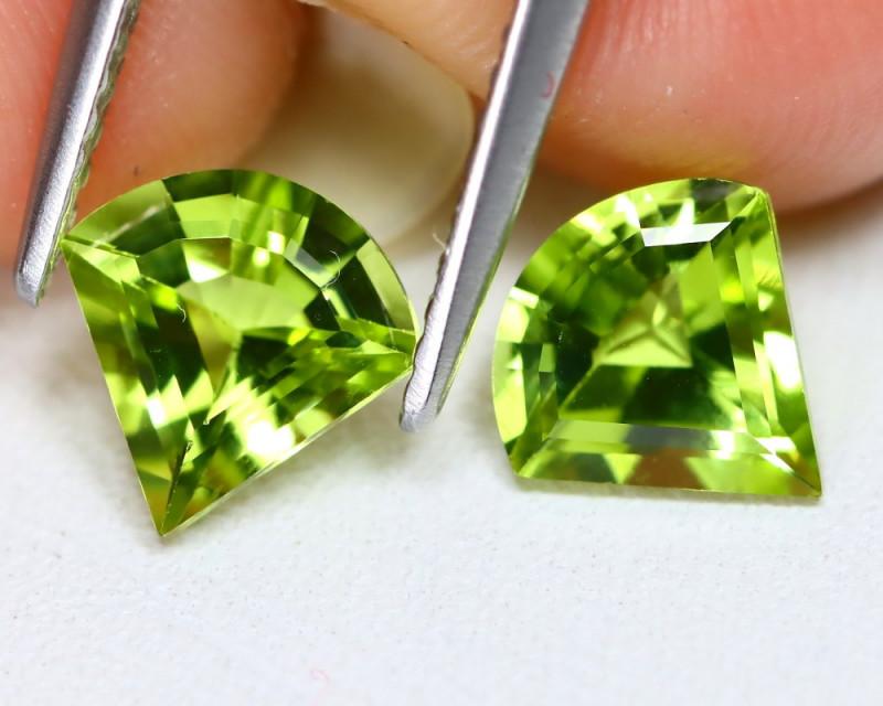 Peridot 1.97Ct 2Pcs Fancy Cut Natural Neon Green Peridot B0412