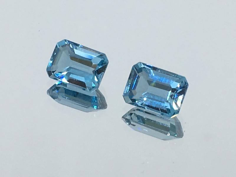 2.50 Carat VVS Topaz Aqua Blue Matched Pair !