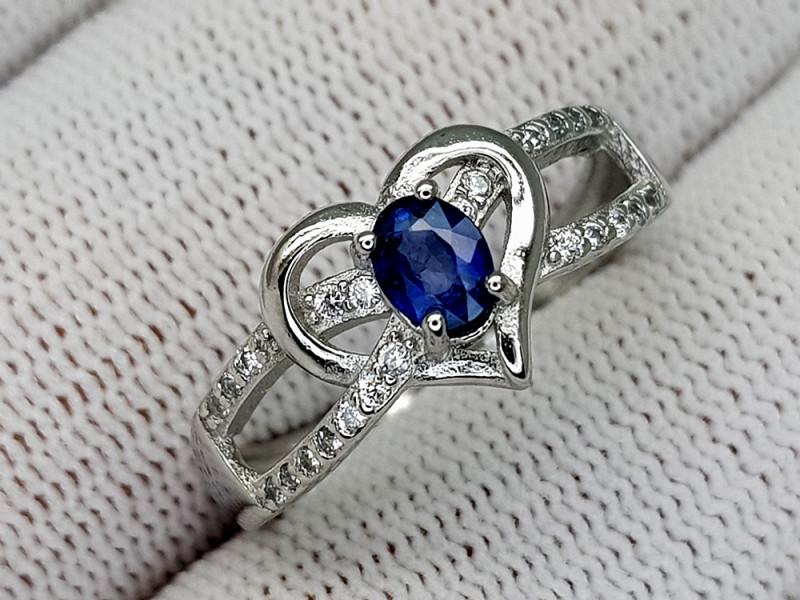 15CT BLUE SAPPHIRE 925 SILVER RING 8 IGCSR01