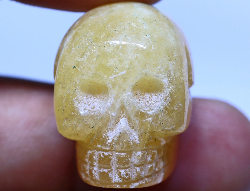 70 carats Yellow Calcite  Skull Carving ANGC- 875