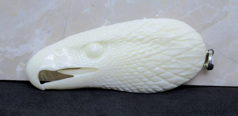 *81.0ct Handcarved Gem Water Buffalo Eagle Head Pendant