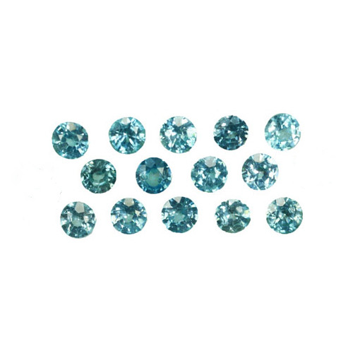 ~SPARKLING~ 3.05 Cts Natural Blue Zircon 3.5-.3.2mm Round 14Pcs Cambodia