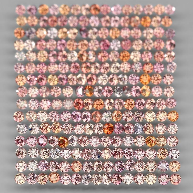 4.02 Ct 1.5mm 230p Round Diamond Cut 100% Natural Top Padparadscha Sapphire