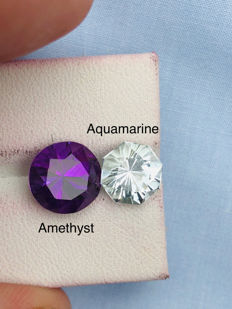 Combine 6.10 ct Deep Color Aquamarine and Amethyst Parcel Ring Size