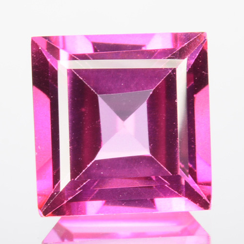 ~SIZZLING~ 4.70 Cts Candy Pink Natural Topaz 9mm Square Cut Brazil