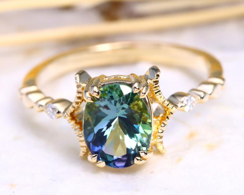 Peacock Tanzanite 1.81Ct Engagement 9K Gold VS Diamond Ring B3101