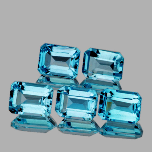 7x5 mm Octagon 5 pieces 6.25cts Sky Blue Topaz [VVS]
