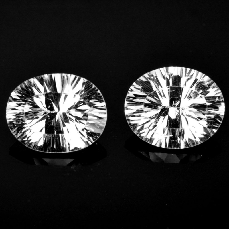 ~CONCAVE CUT~ 5.47 Cts Natural Sparkling White Topaz 10x8mm Oval 2Pcs Brazi