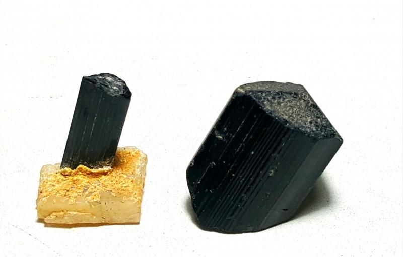 Amazing Natural Damage free Black Tourmaline  2 Specimens 102Cts-P