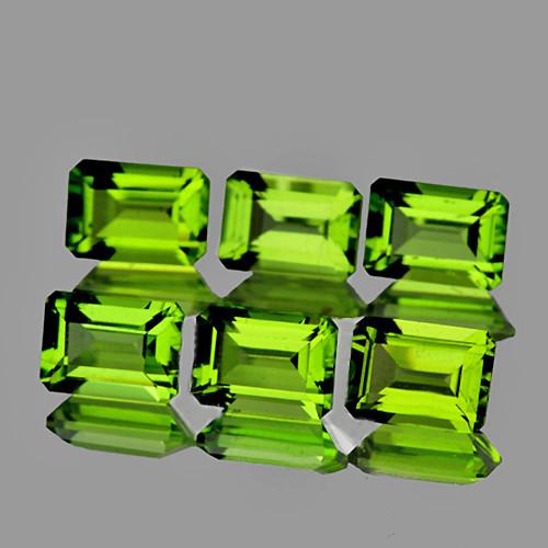 6x4 mm Octagon 6 pcs  3.43cts Green Peridot [VVS]