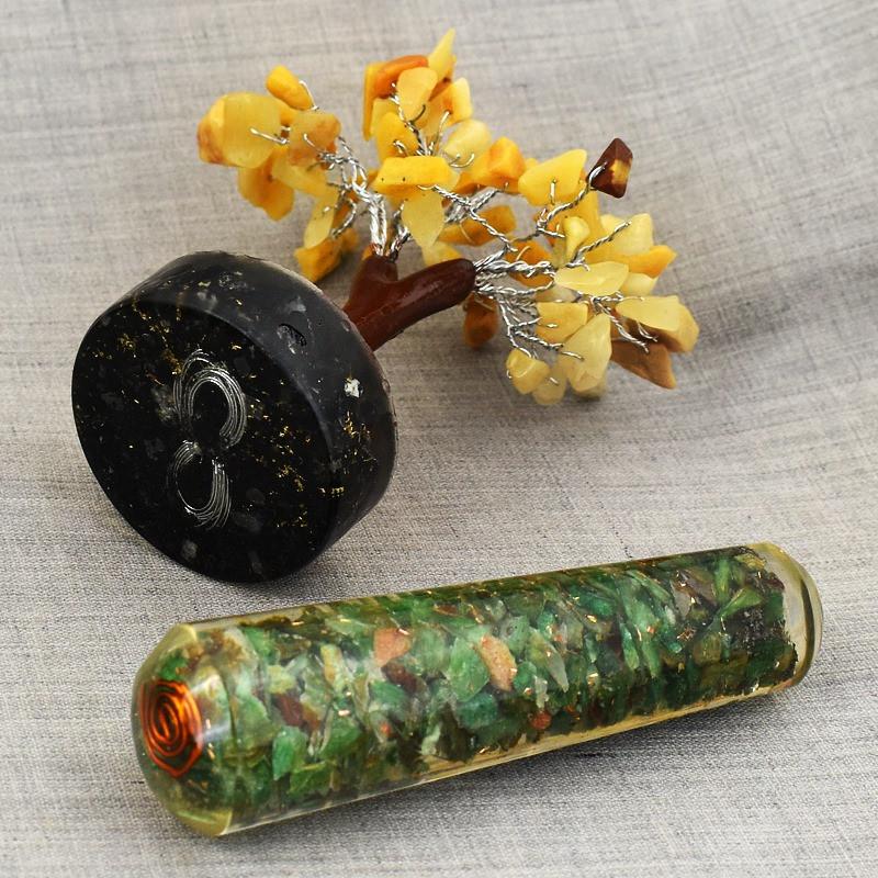 Genuine 855.00 Cts Aventurine Healing Tree & Jade  Orgone Massage Wand   H
