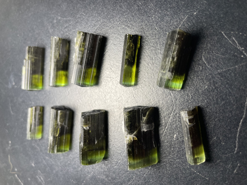 Green Cap Tourmaline Crystal Lot