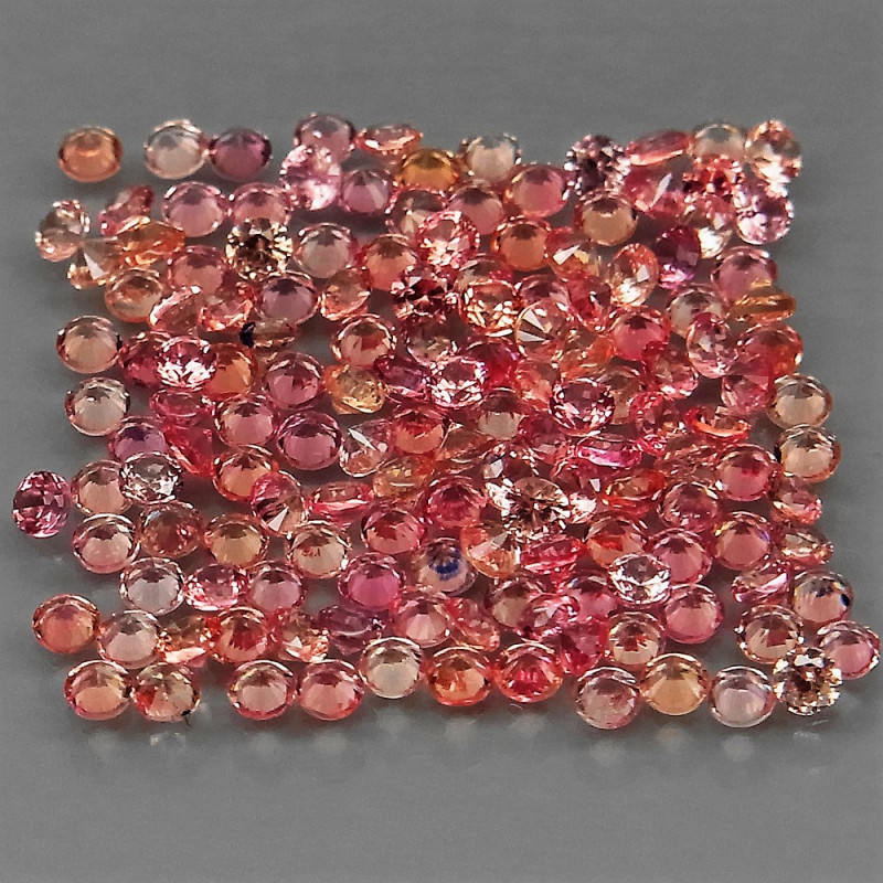 3.91Ct 1.5 mm 250 pcs Round Diamond Cut 100% Natural Top Padparadscha Sapph