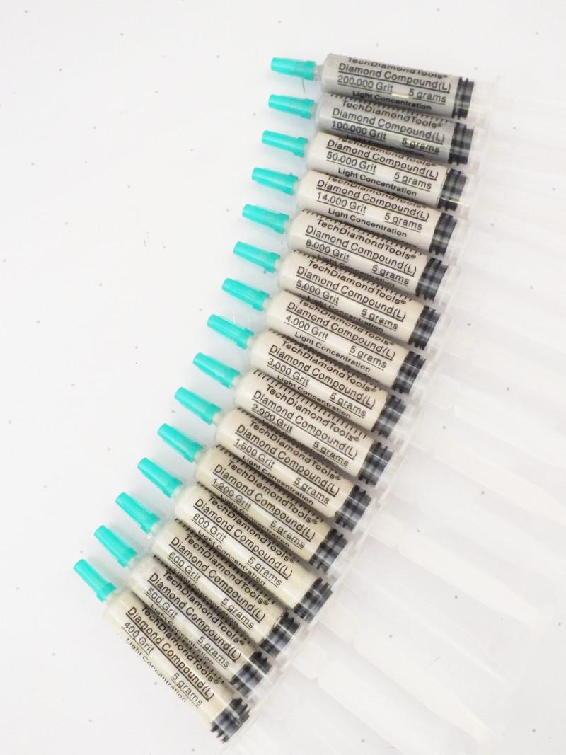 Diamond Lapidary Compound, Set of 15 units, Light Concentration (10%)