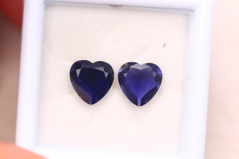 iolite faceted hearts pair