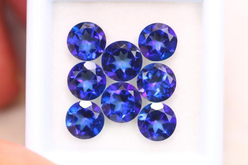 8.05Ct Natural Vivid Blue Topaz Round Cut Tanzanite Color Lot A1206