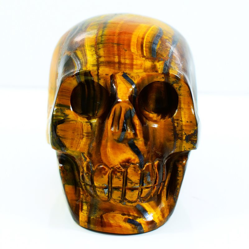 Genuine 1125.00 Cts Tiger Eye Hand Carved Skull Carving