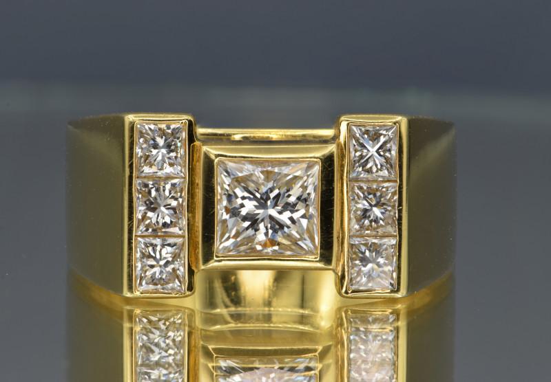 Natural White Diamond Princess and 18K Gold Men's Ring, Elegant Design