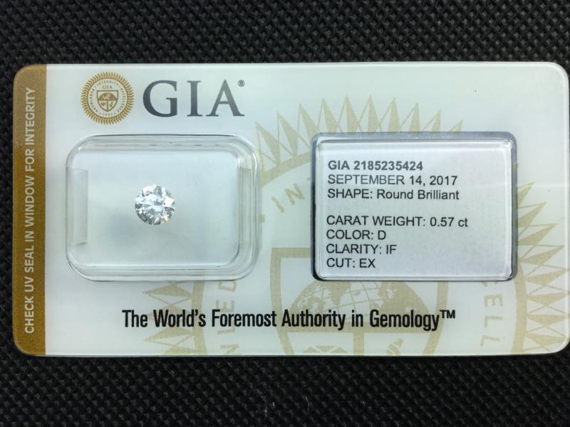 3x EX !! GIA-zertifizierter Diamant 0.57 ct  D04