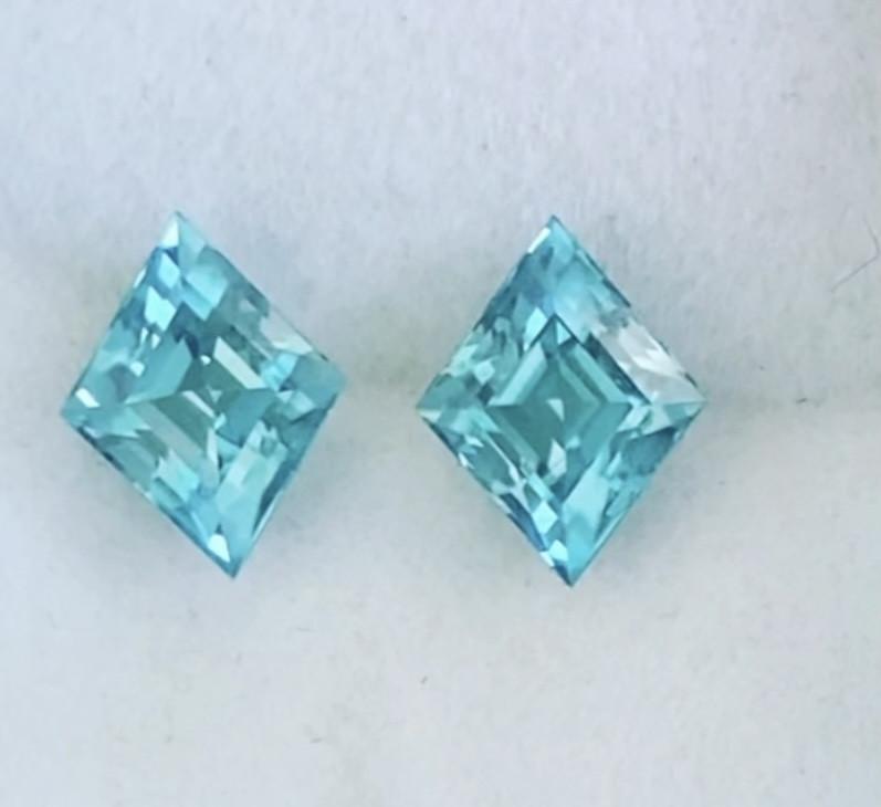 Glowing Pair Of Diamond Cut Blue Zircons - Cambodia