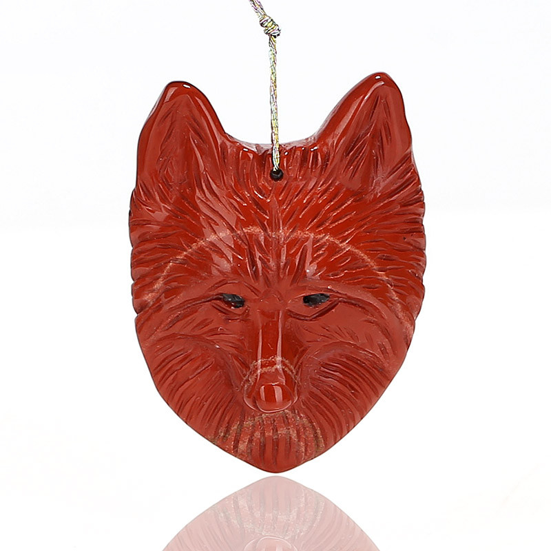 Carved Wolf head Red River Jasper Gemstone Pendant, 38x29x12mm, 13.2g C048