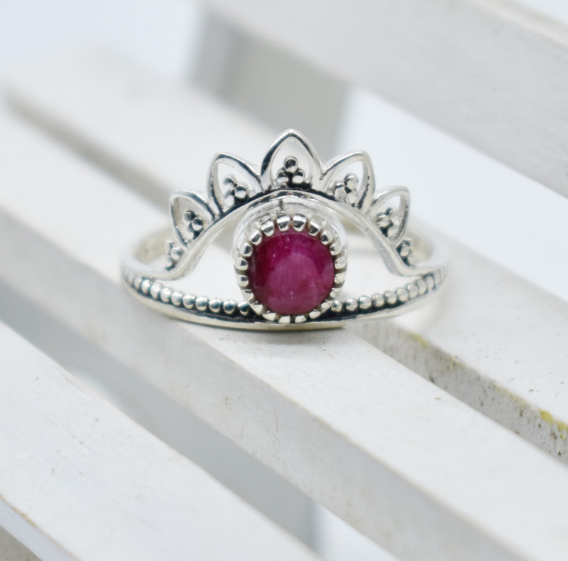 RUBY RING 925 STERLING SILVER NATURAL GEMSTONE JR1026