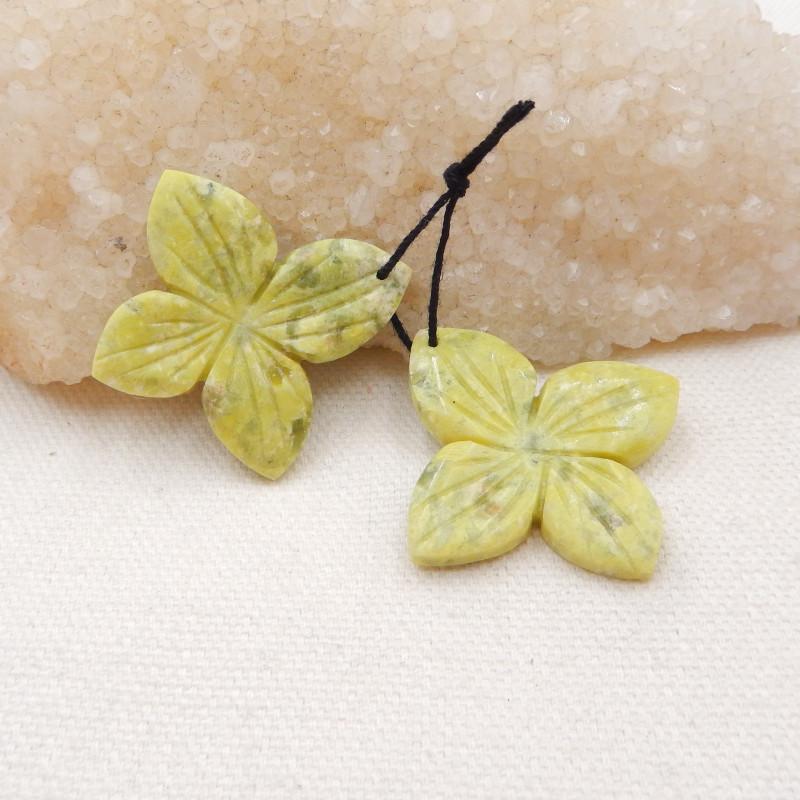 51.5ts Carved flower earrings Serpentine Jasper earrings ,earrings ,healing