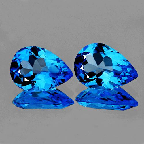 9x6 mm Pear 2 pcs 3.02cts Blue Topaz [VVS]