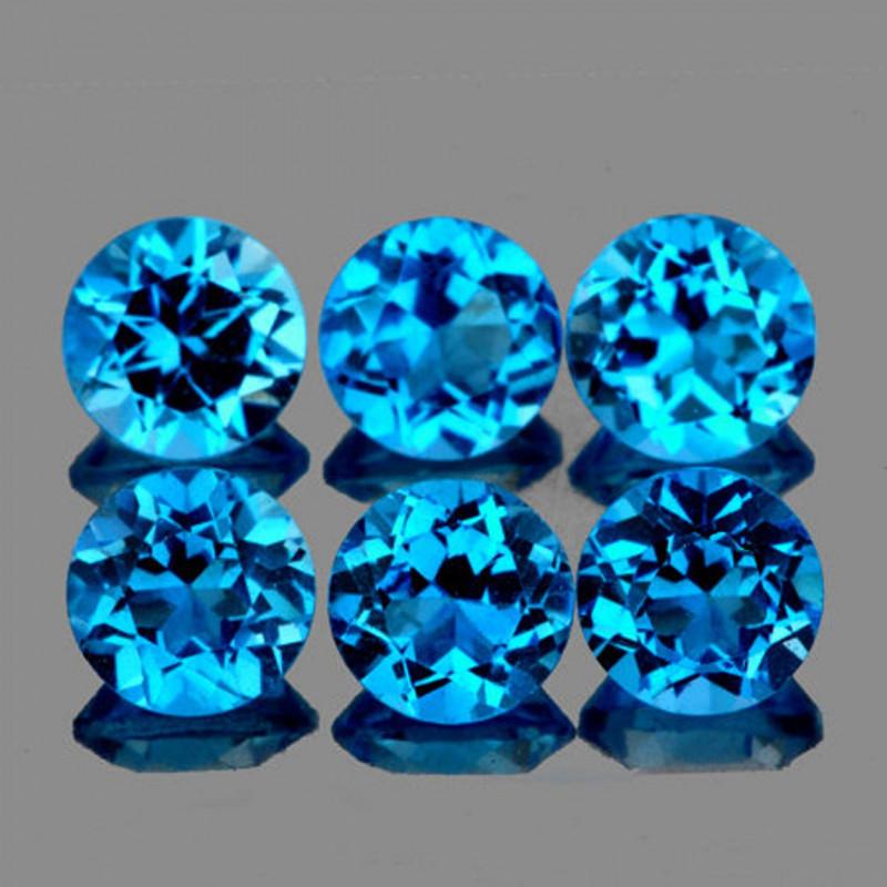 5.00 mm Round 6 pcs 3.82cts Swiss Blue Topaz [VVS]