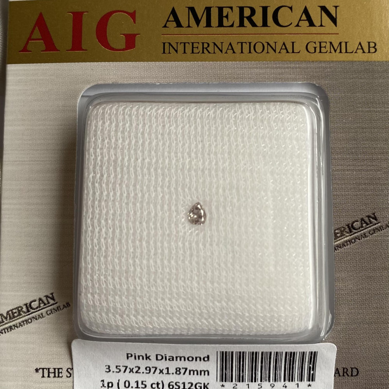 0.15ct UNTREATED Fancy Pink Loose Diamond AIG Certified Blister Pear Cut SI