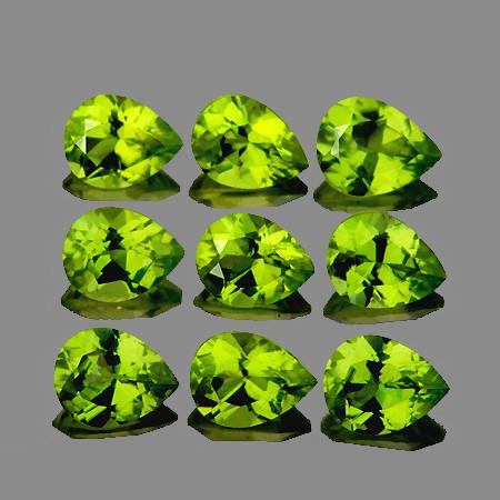 5x4 mm Pear 9 pcs 3.23cts Green Peridot [VVS]