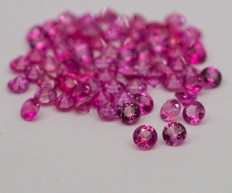 VVS! Round Cut Pink Sapphire 75 Pieces