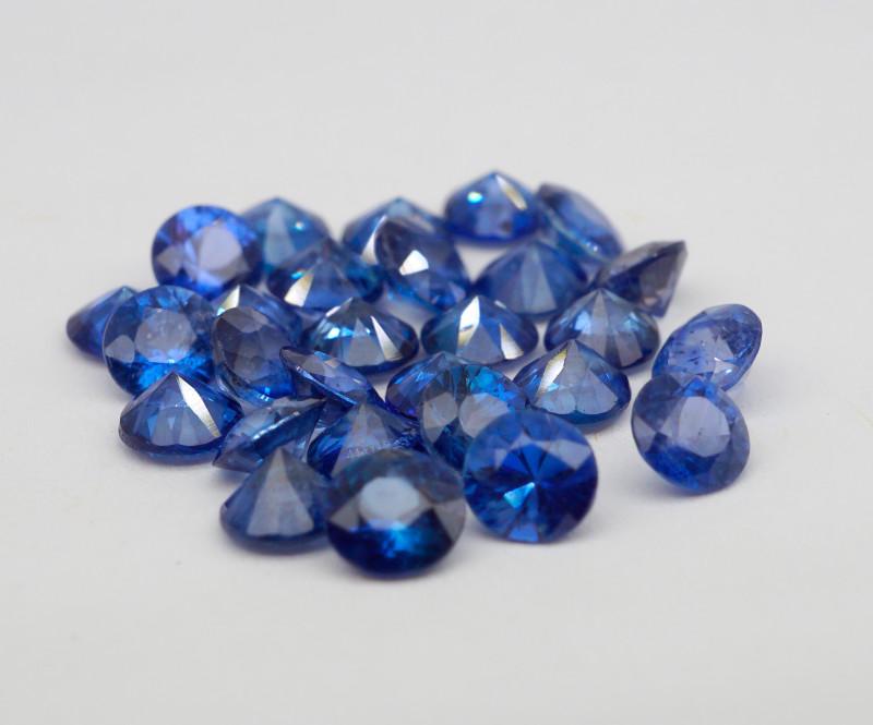 VVS! Round Cut Heated Cornflower Blue Sapphire 28 Pieces
