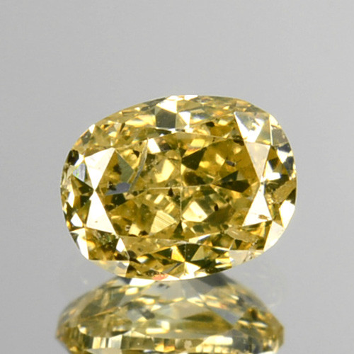 ~UNTREATED~ 0.28 Cts Natural Silver Yellow Diamond Oval Africa