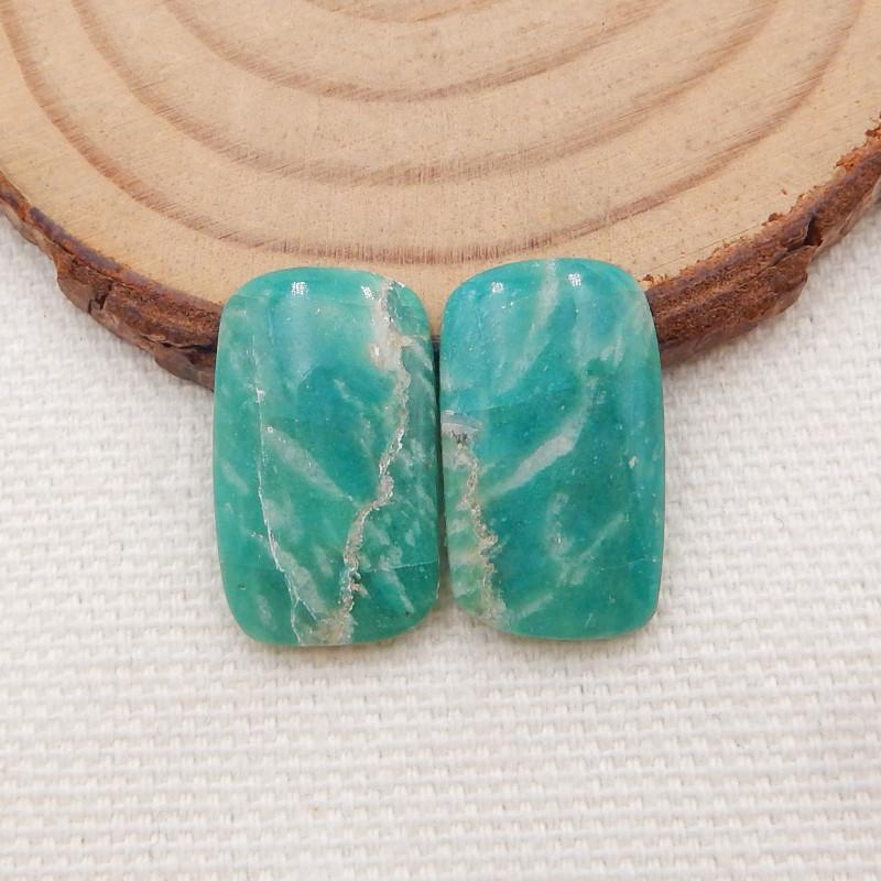 14.5Ct Natural Amazonite Gemstone Cabochon Pair ,Bi Color Amazonite H1561