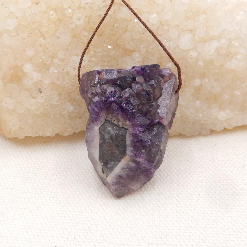 133cts Raw amethyst pendant, crystal gemstone pendant,healing stone pendant