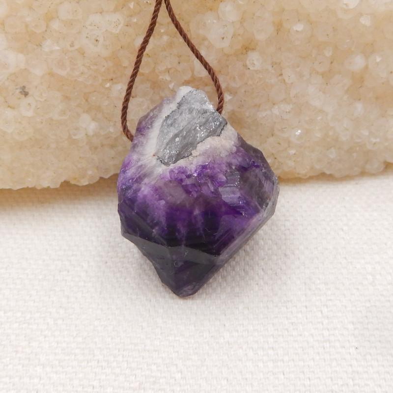 70cts Raw amethyst pendant, crystal gemstone pendant,healing stone pendant