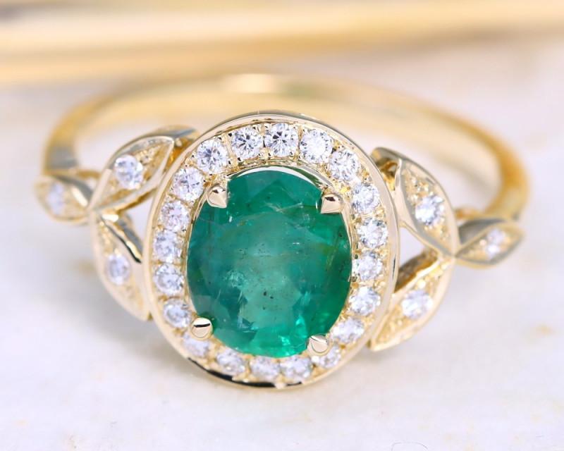 Zambian Emerald 1.40Ct Engagement 9K Gold VS Diamond Ring B0715