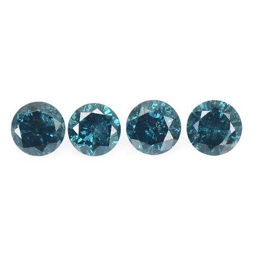 Diamond 0.38 Cts 4 Pcs Sparkling Rare Fancy Blue Color Natural