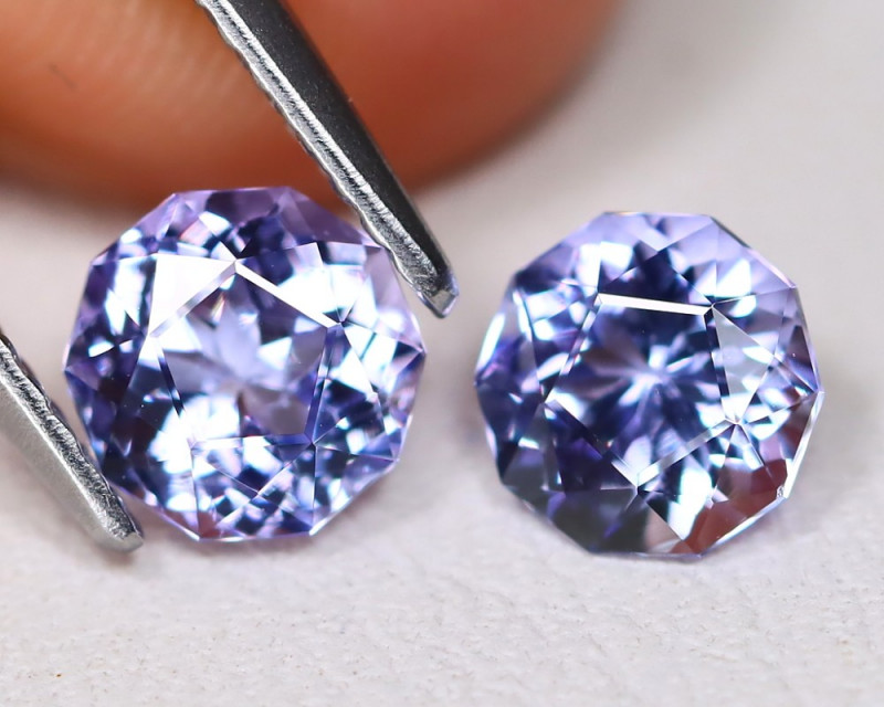 Tanzanite 1.59Ct VVS Master Cut Natural Purplish Blue Tanzanite Pair ET171