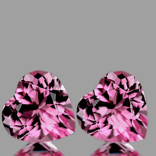 4.00 mm Heart 2 pcs Pink Tourmaline [VVS]