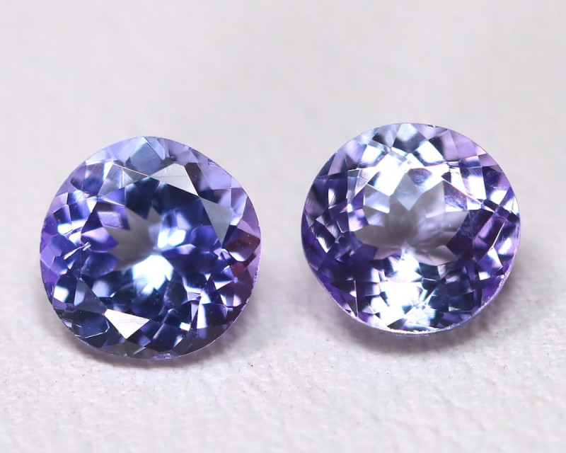 Tanzanite 1.55Ct 2Pcs VS Round Cut Natural Purplish Blue Tanzanite B1118