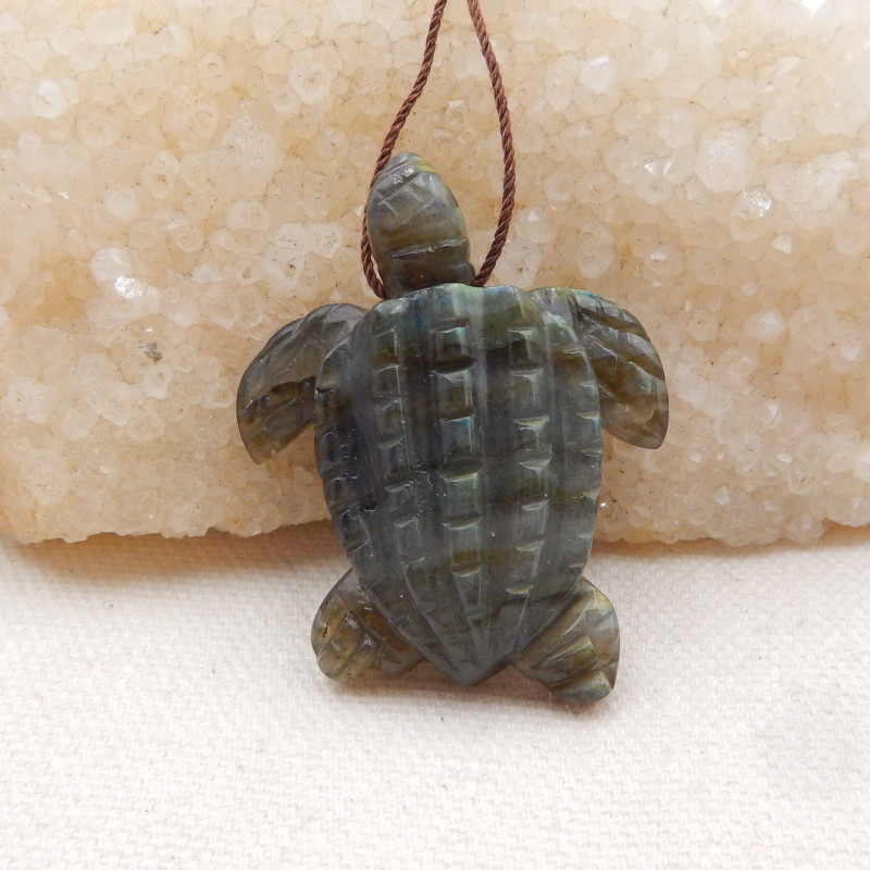 80cts Hand Carved Turtle Cabochon ,Labradorite Turtle,Great Craft H1614