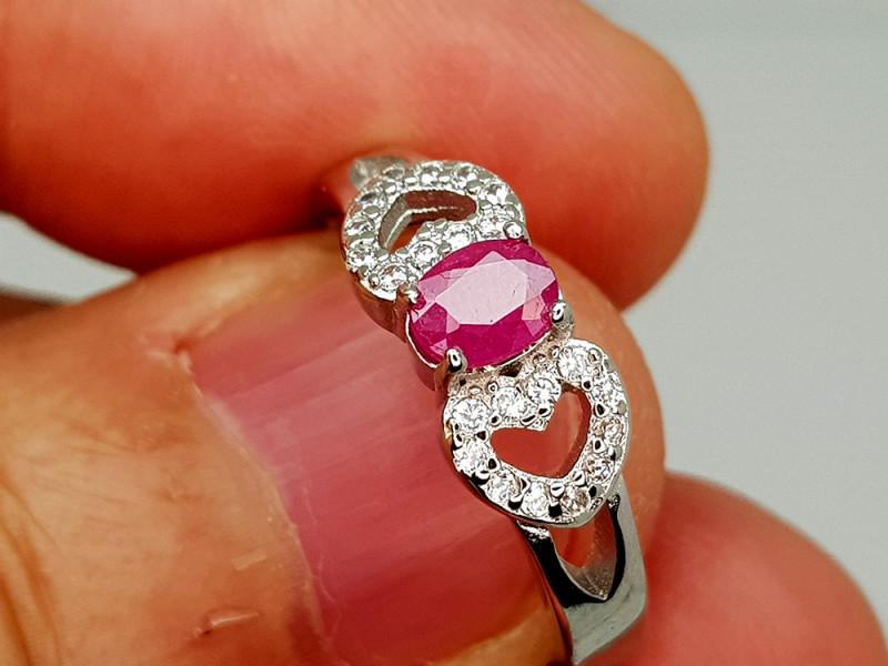 14Crt Ruby 925 Silver Ring 7.5 Natural Gemstones JI131