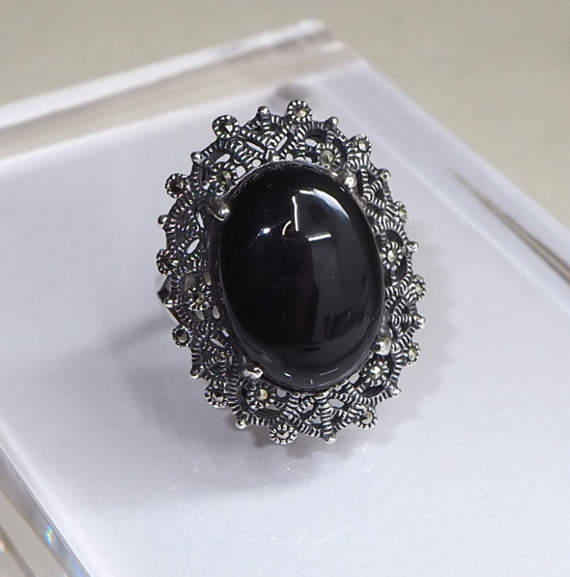 Onyx sliver ring (925 silver)