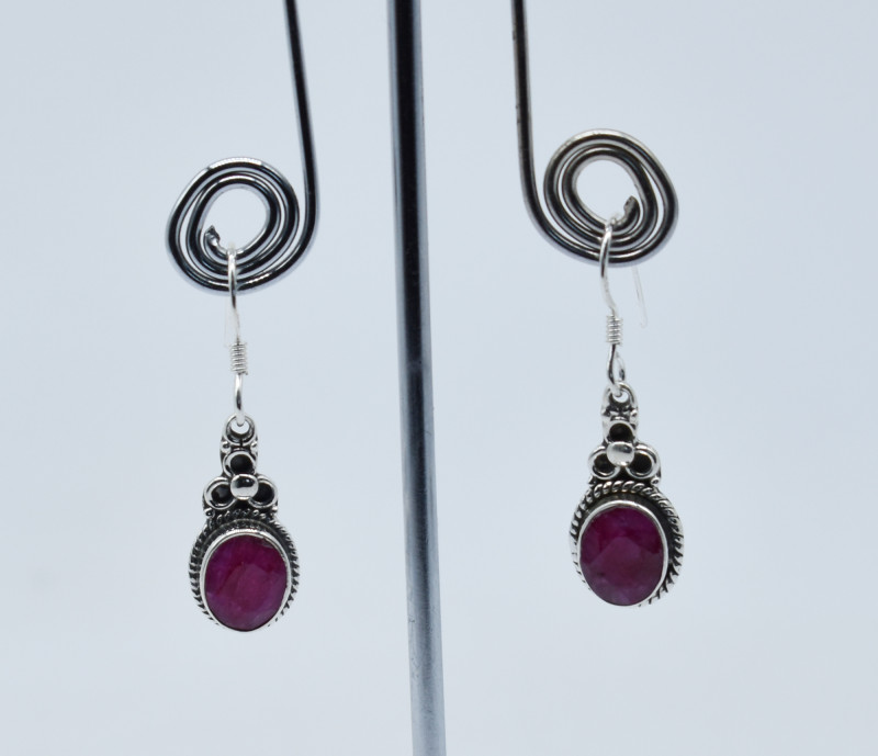 RUBY EARRINGS 925 STERLING SILVER NATURAL GEMSTONE E57