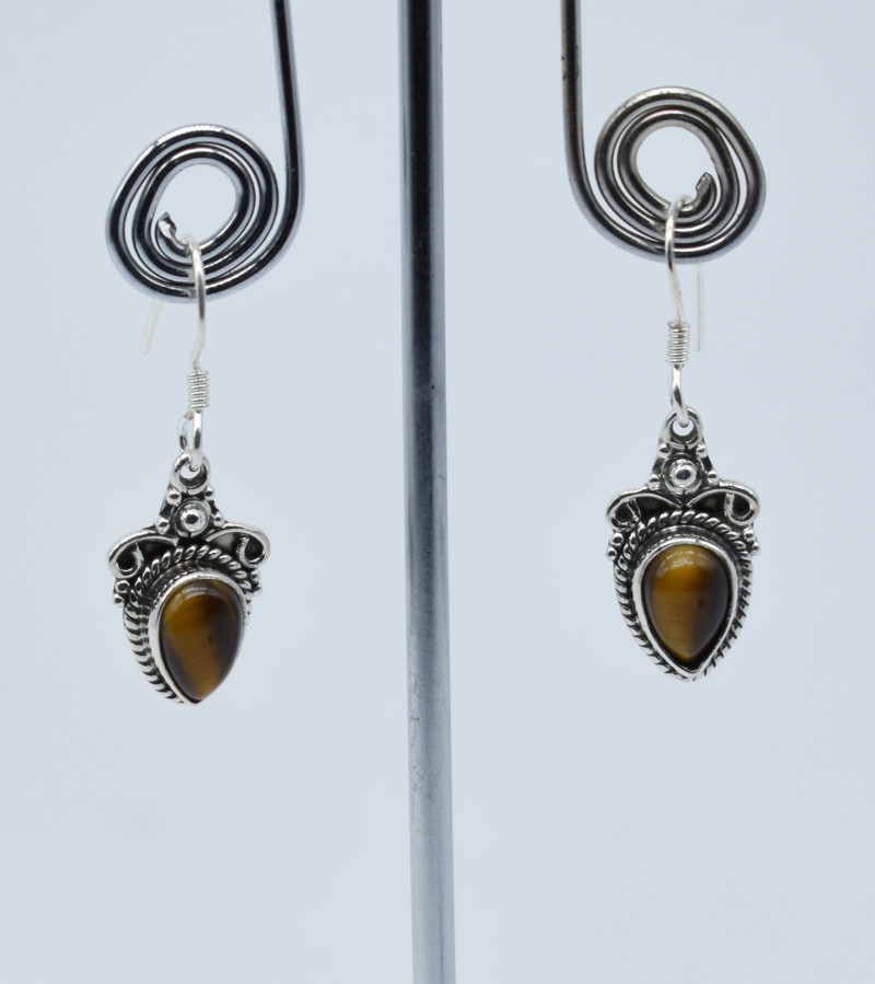 TIGER EYE EARRINGS 925 STERLING SILVER NATURAL GEMSTONE E60