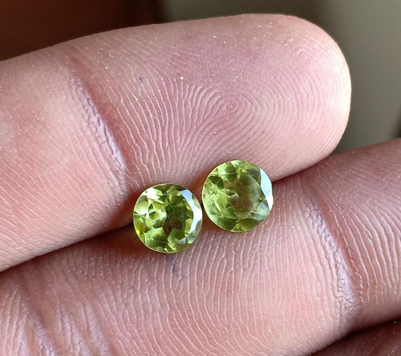 Natural Peridot Gemstone Pair 100% Genuine VA3860