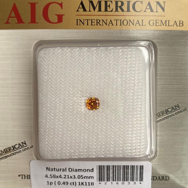 Fancy VIVID Orange Yellow Diamond 0.49ct SI2 AIG Certified UNTREATED Cushio