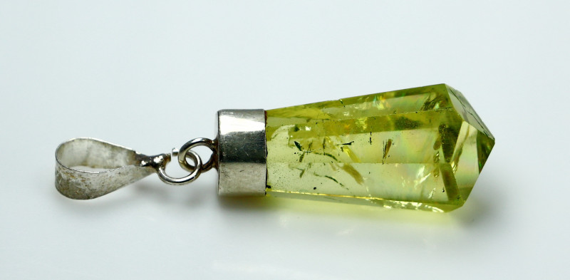 NR!! 12.15 CTs Natural & Unheated~ Yellow Citrine Pendant With Silver Cap